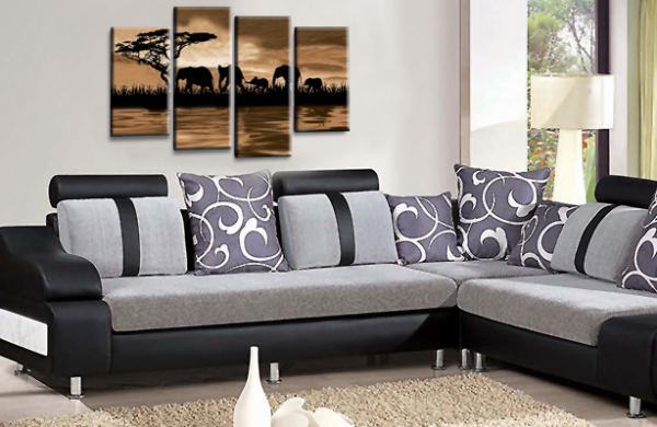 Sunset Elephant Canvas Wall Art Picture Sepia Brown Cream